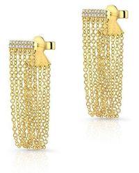 Anne Sisteron - 14kt Yellow Gold Diamond Bar Veil Earrings - Lyst