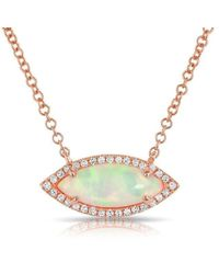 Anne Sisteron - 14kt Rose Gold White Opal Diamond Mini Marquis Necklace - Lyst