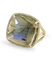 Anne Sisteron - 14kt Yellow Gold Labradorite Diamond Cushion Cut Cocktail Ring - Lyst