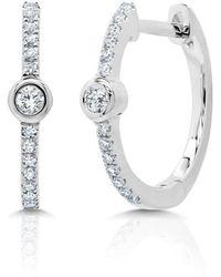 Anne Sisteron - 14kt White Gold Diamond And Bezel Huggie Earrings - Lyst