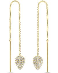 Anne Sisteron - 14kt Yellow Gold Diamond Monaco Threader Earrings - Lyst