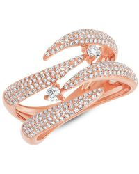 Anne Sisteron - 14kt Rose Gold Diamond Small Flame Tip Ring - Lyst