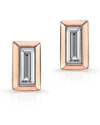Anne Sisteron - 14kt Rose Gold Diamond Single Baguette Bar Earrings - Lyst
