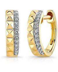 Anne Sisteron - 14kt Yellow Gold Spike Diamond Huggie Earrings - Lyst