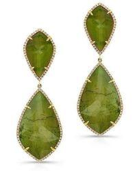 Anne Sisteron - 14kt Yellow Gold Yellow Green Tourmaline Diamond Rose Cut Earrings - Lyst