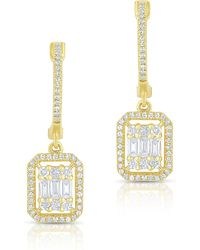 Anne Sisteron - 14kt Yellow Gold Baguette Diamond Rectangle Ryleigh Drop Earrings - Lyst