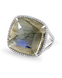 Anne Sisteron - 14kt White Gold Labradorite Diamond Cushion Cut Cocktail Ring - Lyst