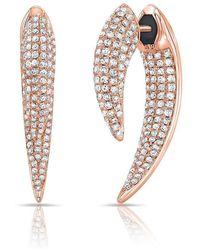 Anne Sisteron - 14kt Rose Gold Diamond Sabre Earrings - Lyst