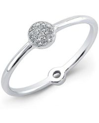 Anne Sisteron - 14kt White Gold Diamond Mini Disc Ring - Lyst