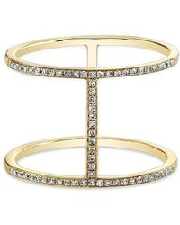 Anne Sisteron - 14kt Yellow Gold Diamond H Trois Ring - Lyst