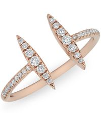 Anne Sisteron | 14kt Rose Gold Diamond Double Tower Ring | Lyst