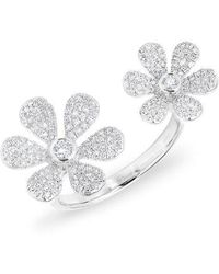 Anne Sisteron - 14kt White Gold Diamond Floating Double Daisy Flower Ring - Lyst