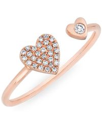 Anne Sisteron - 14kt Rose Gold Diamond Double Heart Ring - Lyst