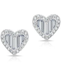 Anne Sisteron | 14kt White Gold Baguette Diamond Heart Stud Earrings | Lyst