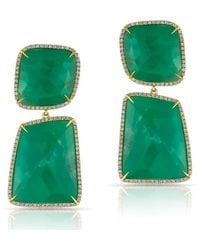 Anne Sisteron - 14kt Yellow Gold Diamond Chrysoprase Amani Earrings - Lyst