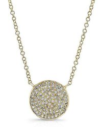Anne Sisteron - 14kt Yellow Gold Diamond Medium Disc Necklace - Lyst
