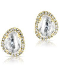 Anne Sisteron | 14kt Yellow Gold Mini Organic Topaz Diamond Stud Earrings | Lyst