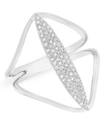 Anne Sisteron - 14kt White Gold Diamond Petal Spear Ring - Lyst