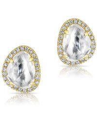 Anne Sisteron - 14kt Yellow Gold Mini Organic Topaz Diamond Stud Earrings - Lyst
