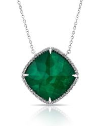 Anne Sisteron - 14kt White Gold Diamond Emerald Triplet Laguna Necklace - Lyst