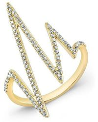 Anne Sisteron - 14kt Yellow Gold Diamond Heartbeat Ring - Lyst