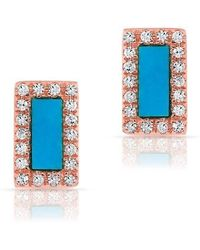 Anne Sisteron - 14kt Rose Gold Turquoise Diamond Bar Stud Earrings - Lyst