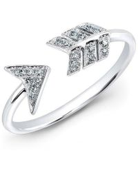 Anne Sisteron - 14kt White Gold Diamond Arrow Ring - Lyst