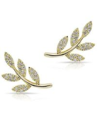 Anne Sisteron - 14kt Yellow Gold Diamond Leaf Stud Earrings - Lyst