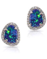 Anne Sisteron | 14kt Rose Gold Small Organic Opal Diamond Stud Earrings | Lyst