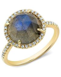 Anne Sisteron - 14kt Yellow Gold Labradorite Diamond Cocktail Ring - Lyst