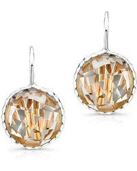 Anne Sisteron - 14kt White Gold White Topaz Round Earrings - Lyst