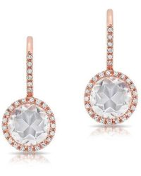 Anne Sisteron - 14kt Rose Gold Diamond White Topaz Round Wireback Earrings - Lyst