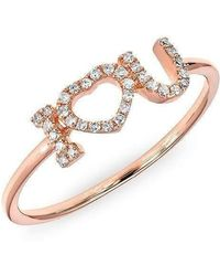 Anne Sisteron - 14kt Rose Gold Diamond I Heart U Ring - Lyst
