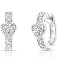 Anne Sisteron - 14kt White Gold Diamond Heart Huggie Earrings - Lyst