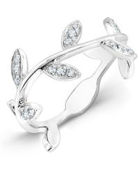 Anne Sisteron - 14kt White Gold Diamond Leaf Knuckle Ring - Lyst
