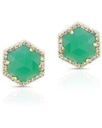 Anne Sisteron - 14kt Yellow Gold Chrysoprase Diamond Hexagon Stud Earrings - Lyst
