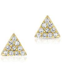 Anne Sisteron - 14kt Yellow Gold Diamond Mini Triangle Stud Earrings - Lyst