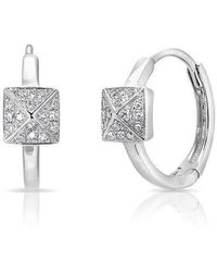 Anne Sisteron - 14kt White Gold Diamond Pyramid Huggie Earrings - Lyst