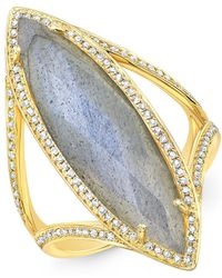 Anne Sisteron - 14kt Yellow Gold Diamond Labradorite Alexis Ring - Lyst