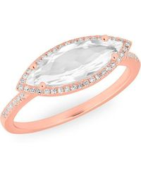 Anne Sisteron - 14kt Rose Gold Diamond Topaz Marquis Miranda Ring - Lyst