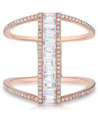 Anne Sisteron - 14kt White Gold Baguette Diamond H Ring - Lyst