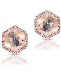 Anne Sisteron - 14kt Rose Gold Moonstone Diamond Hexagon Stud Earrings - Lyst