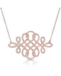 Anne Sisteron - 14kt Rose Gold Diamond Woven Lace Necklace - Lyst