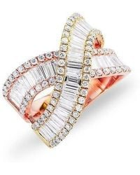 Anne Sisteron - 14kt Yellow And Rose Gold Baguette Diamond Wrap Ring - Lyst