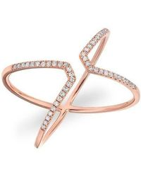 Anne Sisteron - 14kt Rose Gold Diamond Open X Ring - Lyst