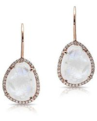Anne Sisteron - 14kt Rose Gold Moonstone Diamond Organic Shape Earrings - Lyst