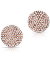 Anne Sisteron - 14kt Rose Gold Diamond Luxe Disc Stud Earrings - Lyst
