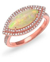 Anne Sisteron - 14kt Rose Gold Marquis Opal Double Halo Diamond Ring - Lyst