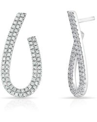 Anne Sisteron - 14kt White Gold Diamond Curve Earrings - Lyst