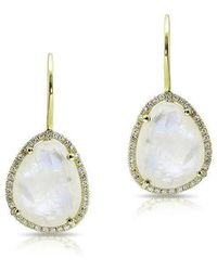 Anne Sisteron - 14kt Yellow Gold Moonstone Diamond Organic Shape Earrings - Lyst